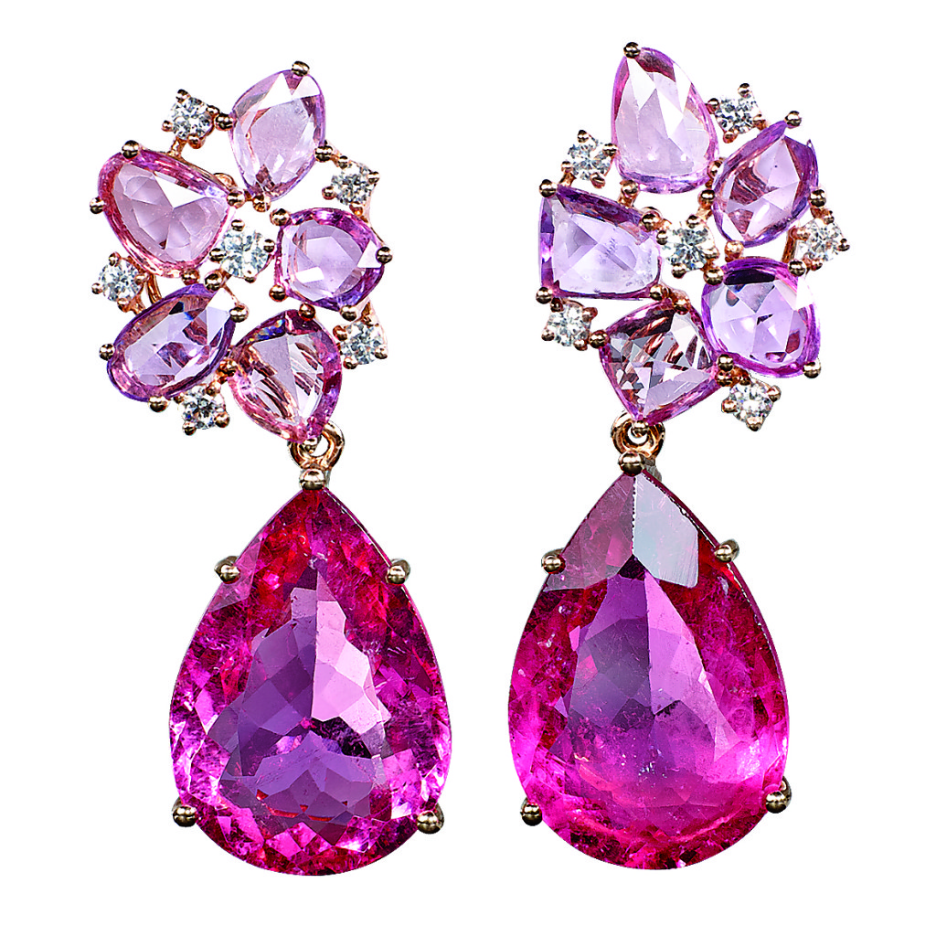 Ohrstecker, Roségold, pinkfarbene Saphire, Diamanten, 2 Rubellite