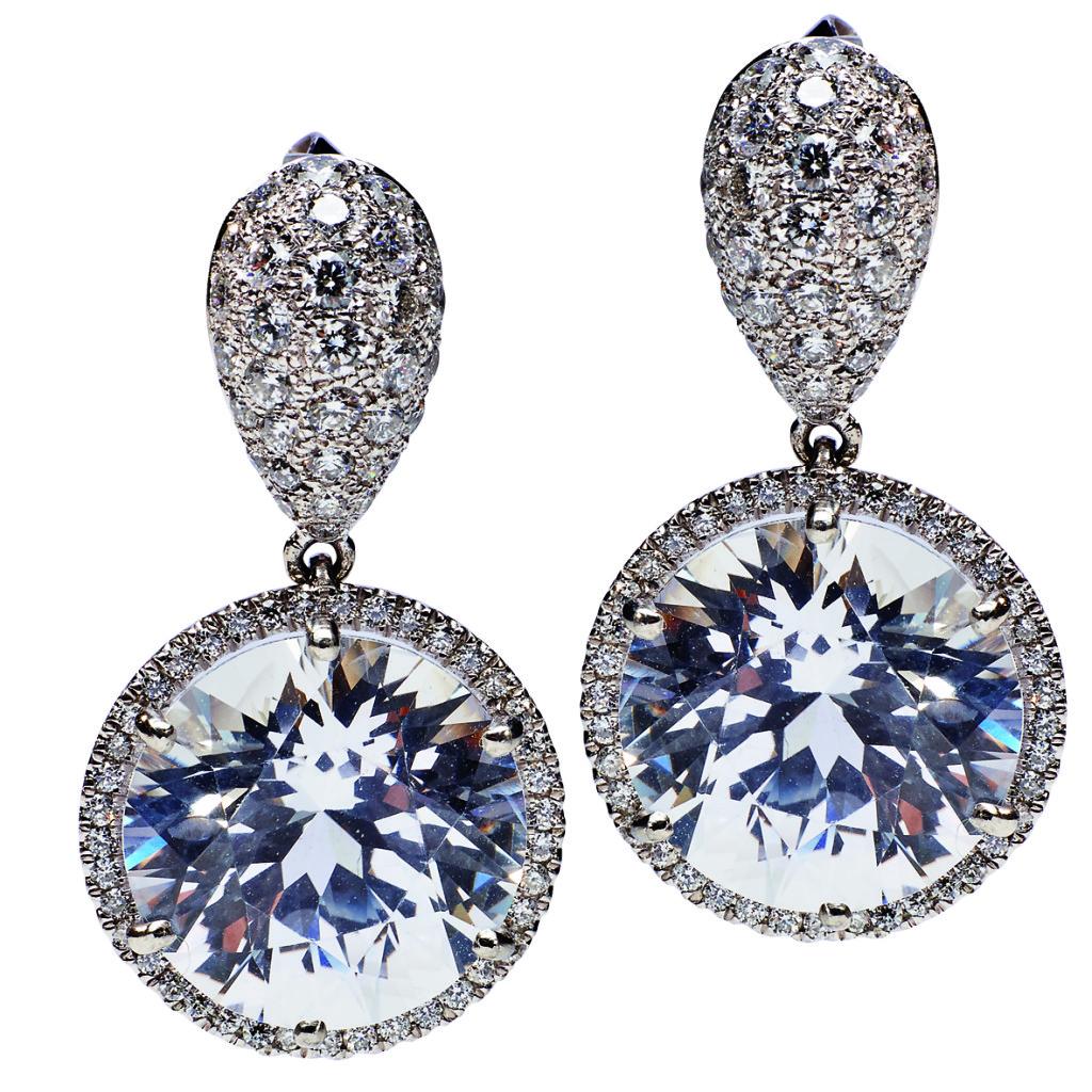 Ohrstecker, Platin, 2 weiße Saphire, Diamanten
