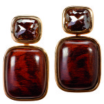 Ohrstecker, Rotgold, w braune Diamant Cabochons, Schlangenholz