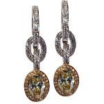 Ohrringe, Weiß- und Gelbgold, 2 hellgelbe Diamanten, weiße Diamanten